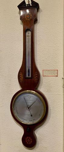 Mahogany Inlaid Wheel Baromoeter (1 of 5)