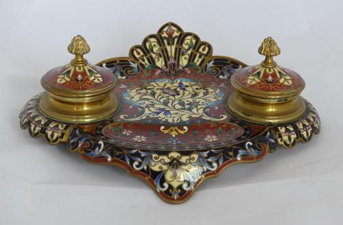 Beautiful French 19th century champleve enamel desk set (1 of 6)