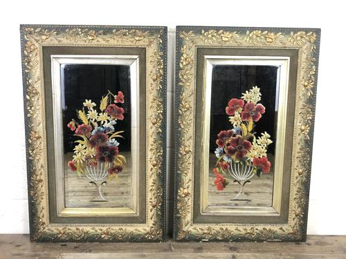 Pair of Antique Early 20th Century Hand Painted Gypsy Mirrors (1 of 5)