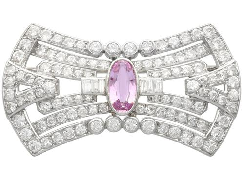 3.08ct Pink Topaz & 7.02ct Diamond and Platinum Brooch - French c.1925 (1 of 9)