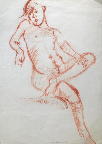 Original Red Chalks Drawing 'Seated Nude' by Eric James Mellon - Signed c.1975 (1 of 1)