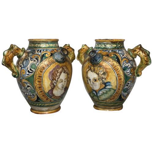 Pair of Fine 20th Century Italian Pottery Sea Horse Romantic Lovers Wine Pitcher Ewer Vases (1 of 12)