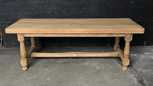 Bleached Oak Wide Farmhouse Dining Table (1 of 15)