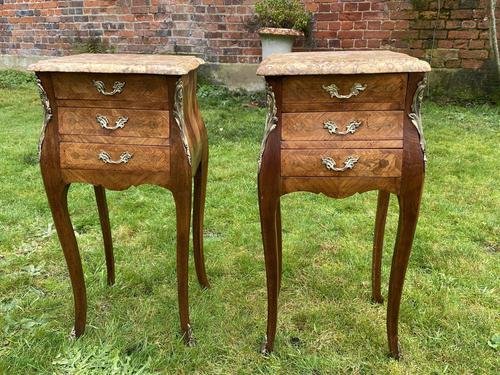 Pair of marquetry bedside tables (1 of 5)