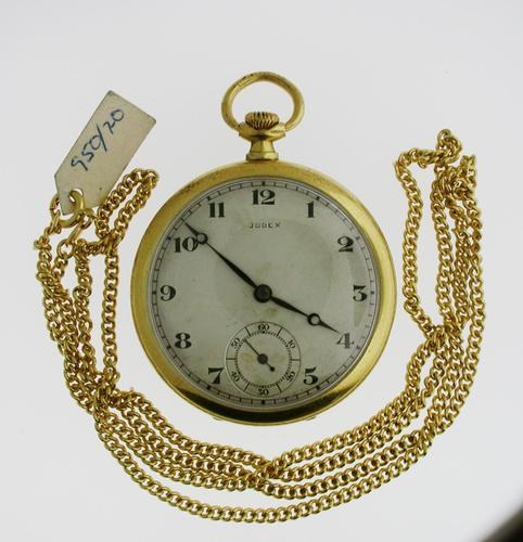 Judex Art Deco Gold Filled Open Face Pocket Watch with Chain Swiss 1925 (1 of 7)