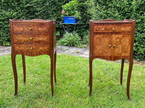 Pair of French Marquetry Bedside Tables in Kingwood (1 of 9)