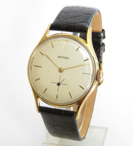 Gents 9ct Gold Bentima Wrist Watch, 1960 (1 of 5)