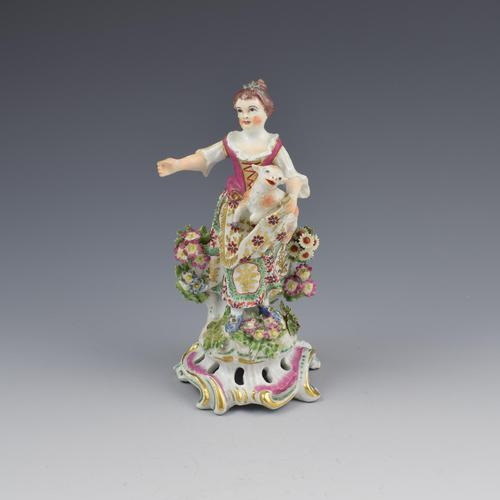 Bow Porcelain Figure Girl Shepherdess With Lamb In Apron c.1762-1764 (1 of 13)
