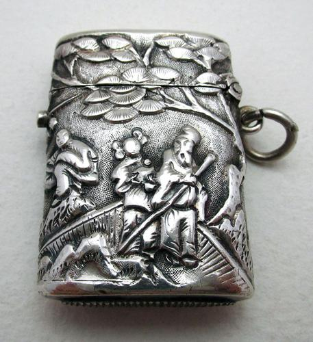 Very Rare Wang Hing Solid Silver Chinese Export Antique Vesta Case Match Box, 19th-Century c.1890 (1 of 9)