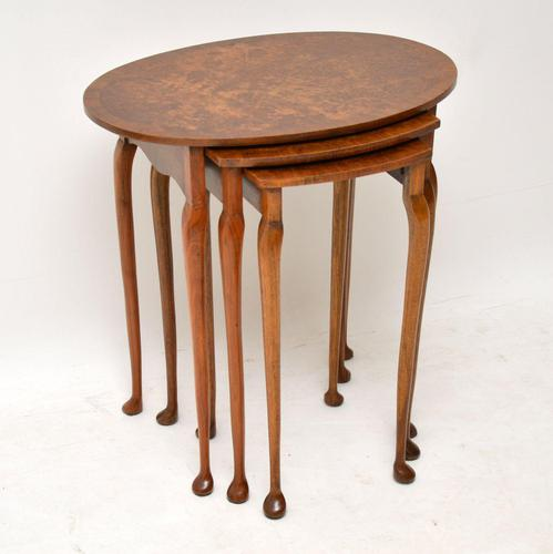 Antique Burr Walnut Oval Nest of Tables (1 of 8)