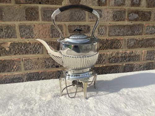 Edwardian Silver Plated Spirit Kettle (1 of 4)