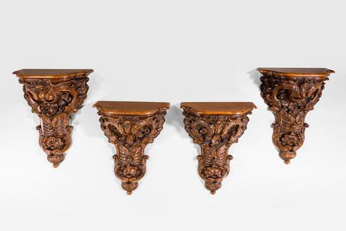 Set of Four 19th Century Walnut Brackets (1 of 6)