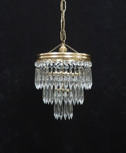 Italian Art Deco Three Tier Crystal Glass Chandelier 1930s (1 of 6)