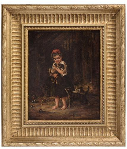 A Charming 19thc Oil on Canvas - Girl with Kittens (1 of 4)
