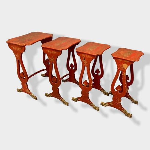 Crutsy Nest of 4 Chinese Red Lacquered Tables (1 of 13)