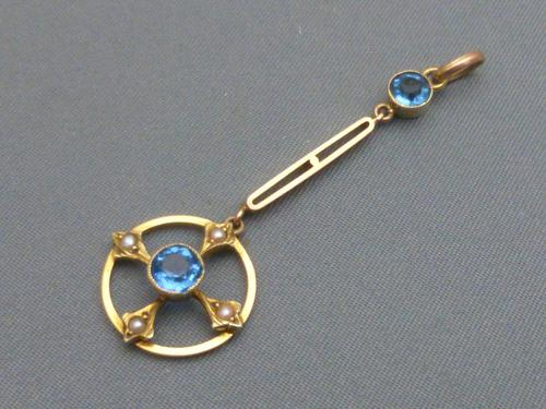 Edwardian 9ct Gold, Blue Zircon & Seed Pearl Pendant (1 of 5)