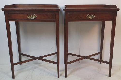 Hand Made Pair of 20th Century Walnut Side Tables (1 of 4)