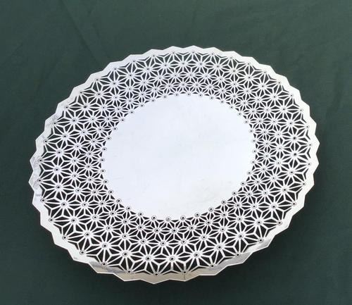 Edwardian Silver Plated Reticulated Canapé / Cake / Bread Comport by Mappin & Webb (1 of 3)