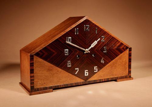 Very Stylish Typical Art Deco Amsterdam School Oak & Macassar Ebony / Coromandel Mantel Clock (1 of 8)
