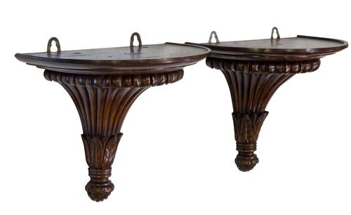 Pair of Carved Mahogany Wall Brackets (1 of 5)