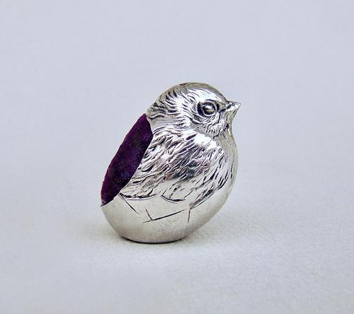 "Edwardian silver ""hatching chick"" pin cushion by Sampson Mordan & Co, Chester 1908 (1 of 5)"