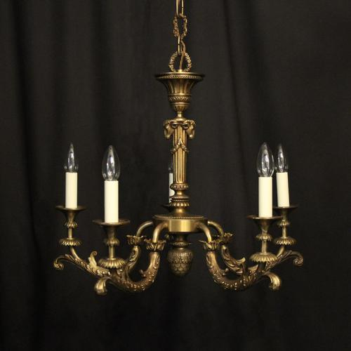 French Bronze 5 Light Antique Chandelier (1 of 10)