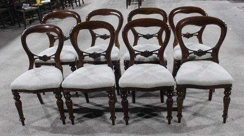 1960s Set 8 Mahogany Balloon Back Dining Chairs in Pale Upholstery (1 of 3)