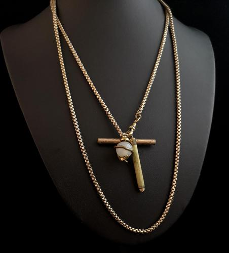 Victorian Pinchbeck guard chain, snake pendant (1 of 9)