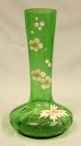 Antique Decorated Green Glass Shaped Vase (1 of 6)