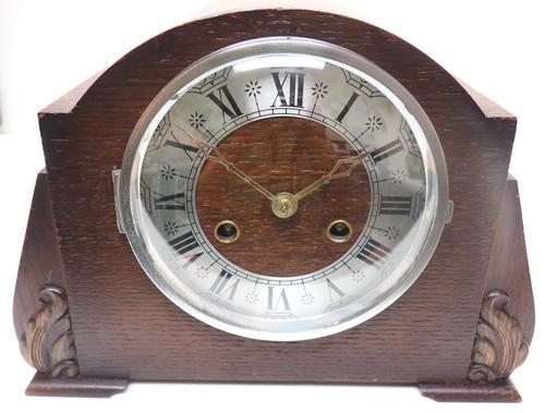 Good Art Deco Oak Mantel Clock – Striking 8-day Arched Top Mantle Clock (1 of 9)