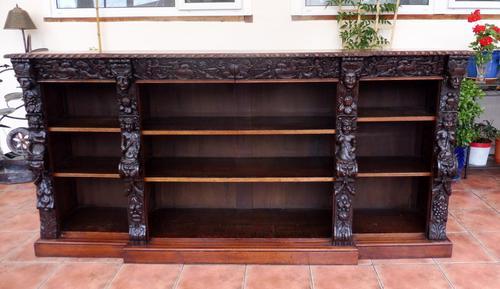 Oak Edwards & Roberts Breakfront Bookcase 7ft 6 Length 4 Drawer (1 of 15)