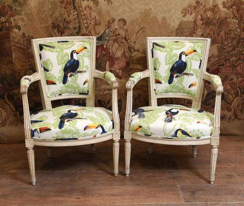 Pair of Painted Arm Chairs Regency Toucan Print Interiors (1 of 5)