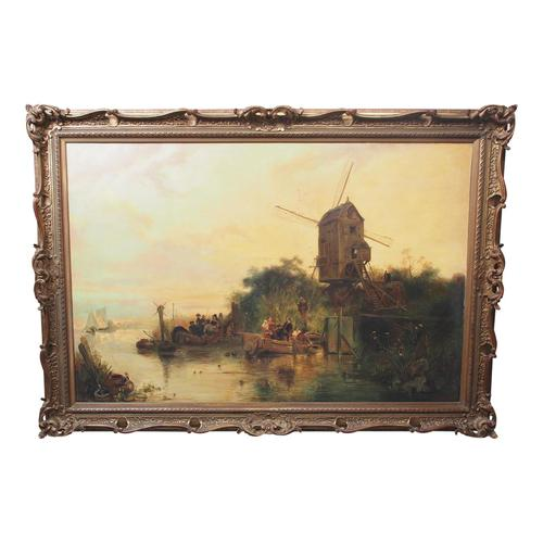 Large Antique Windmill Landscape Oil Painting on Canvas (1 of 12)