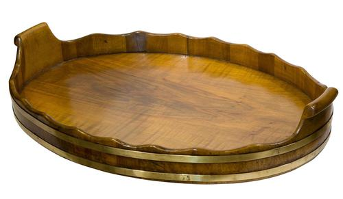 Antique Walnut Brass Bound Oval Tray (1 of 6)