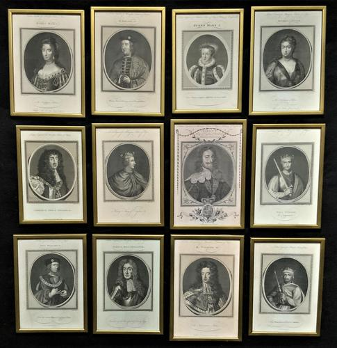 Rare Set of 12 Original 18th Century Engraving's of Kings & Queens of England (1 of 18)