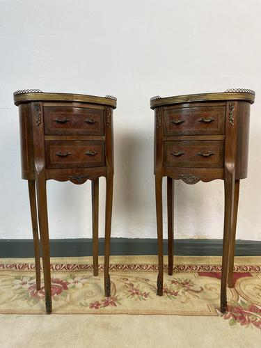 French Marquetry Bedside Tables Oval Cabinets with Marble Tops (1 of 12)
