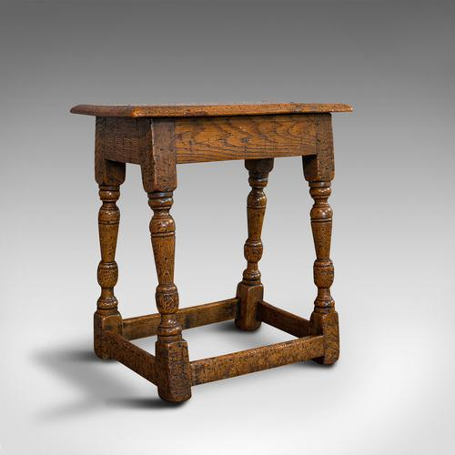 Small Antique Joint Stool, Oak, Seat, Side Table, Jacobean Revival, Victorian (1 of 11)