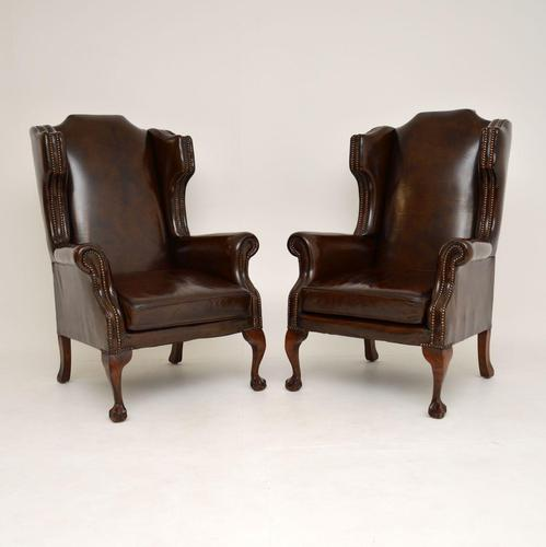 Pair of  Antique  Leather Wing Back Armchairs (1 of 11)