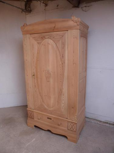 Original Victorian Antique Pine 1 Door Knockdown Wardrobe to wax / paint (1 of 12)