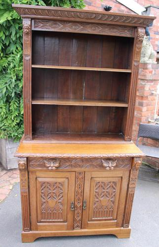 1900's Large Carved Oak Bookcase with Good Carving (1 of 6)