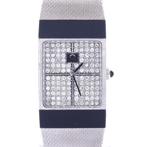 Lady 18ct Omega White Gold & Diamond Mechanical Dress Wrist Watch (1 of 4)