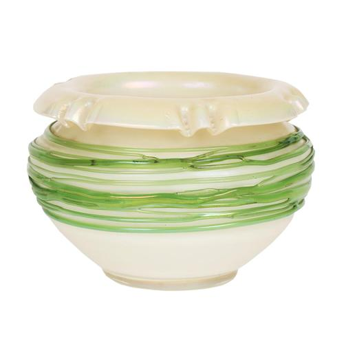 Palme König Attributed Art Nouveau Green Trailed Thread Iridescent Art Glass Vase (1 of 14)