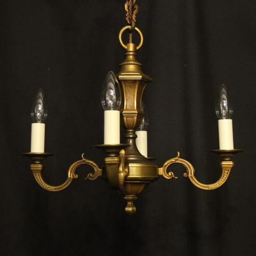 French Bronze Gilded 4 Light Antique Chandelier (1 of 9)