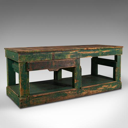 Large Antique Factory Work Table, English, Pine, Industrial, Mill, Victorian (1 of 10)