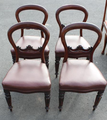 1900's Mahogany Set 4 Balloon Back Dining chairs Leather Seats (1 of 3)