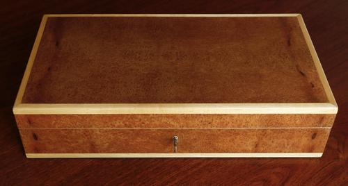 Burr Wood Box Edged in Maple with Maple Portioned (1 of 8)