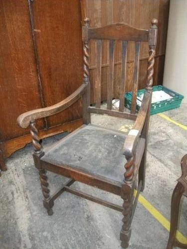 Oak Framed Barley Twist Elbow Chair (1 of 3)