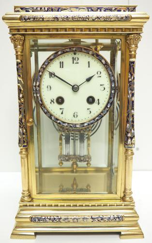 Awesome Antique French Champlevé Ormolu Bronze 8 Day Striking Mantel Clock c.1880 (1 of 13)