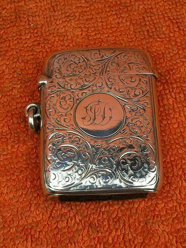 Antique Sterling Silver Hallmarked Large Vesta Case Sirus 1900, Horton & Allday (1 of 9)