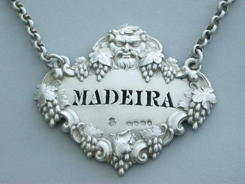 Victorian Cast Silver Bacchus Mask Wine Label 'Madeira' (1 of 10)